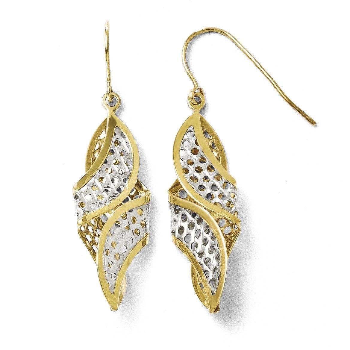 Leslies 10K w/ Rhodium Textured Shepherd Hook Dangle Earrings