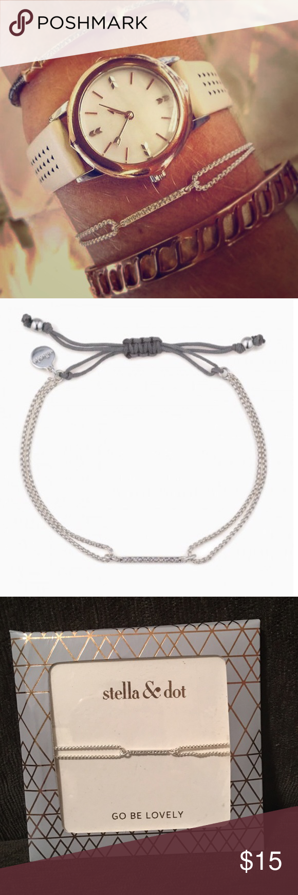 Stella Dot Pave Wishing Bracelet Silver Nwt Nwt My Posh Closet
