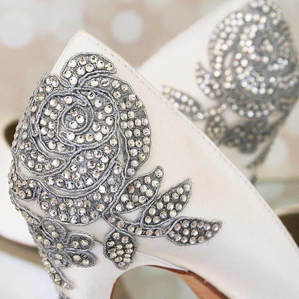Ivory Wedding Shoes With Silver Crystal Rose