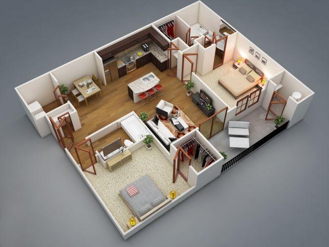 50 Plans 3d D Appartement Avec 2 Chambres House Floor Plans House Plans 3d House Plans