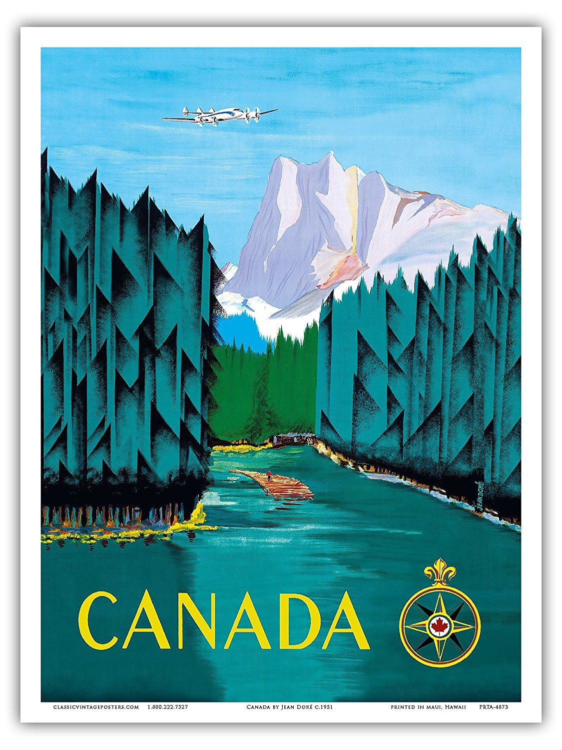 Canada - River Log Driving - Vintage Airline Travel Poster by Jean ...
