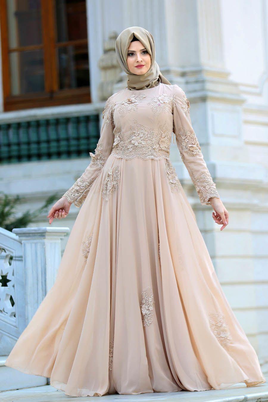 Acik Renkli Tesettur Kabarik Abiye Modelleri Aksamustu Giysileri Elbiseler Gelin Elbisesi