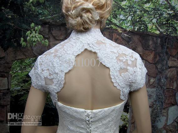 Wholesale DHL Ivory cap sleeve bridal lace bolero jacket - keyhole back 001, Free shipping, $56.0-61.6/Piece | DHgate