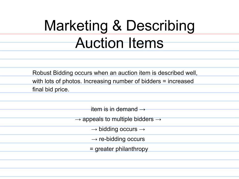 Marketing  Describing Auction Items - Charity Auction Organizer