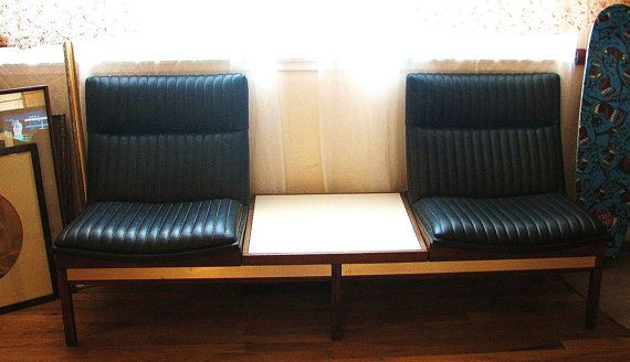 Bay Area California Pickup Only   1960s Teak And Naugahyde Settee/Waiting  Room Chairs/Theater Seats/Airport Chairs