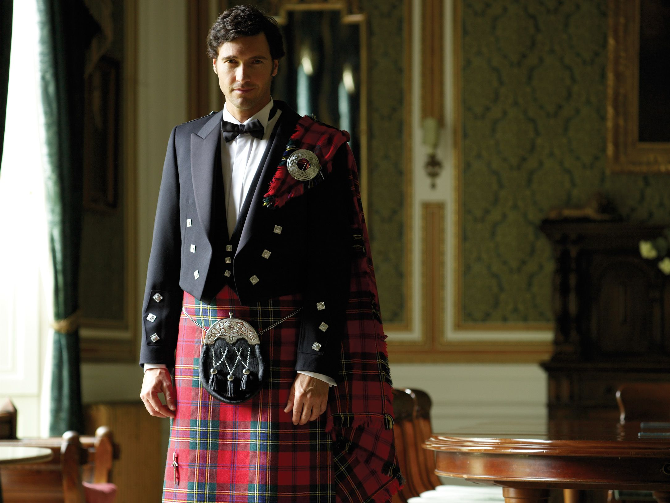 Modern Maclean Of Duart Tartan Bond Brothers Formalwear For Men Kilt Dress Hire Men In Kilts