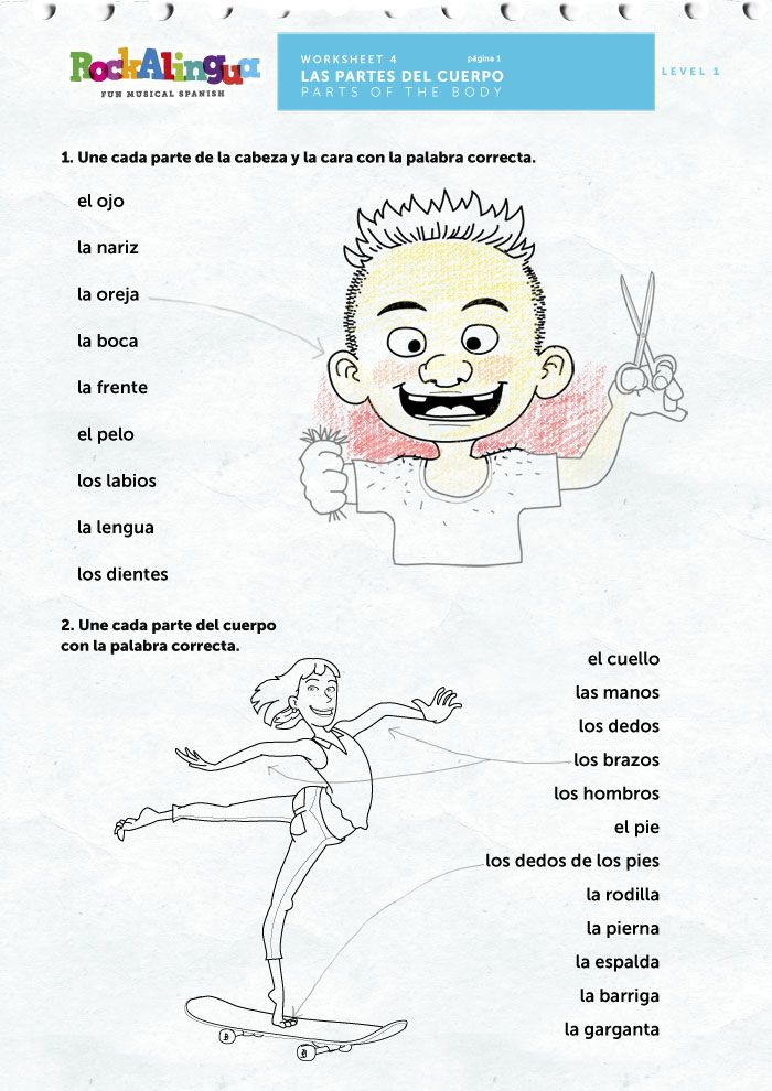 FREE Parts of the body | Rockalingua | Spanish Lessons | Pinterest