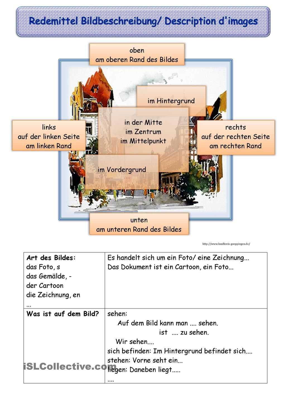 redemittel bildbeschreibung deutsch pinterest bildbeschreibung deutsch lernen und deutsch. Black Bedroom Furniture Sets. Home Design Ideas