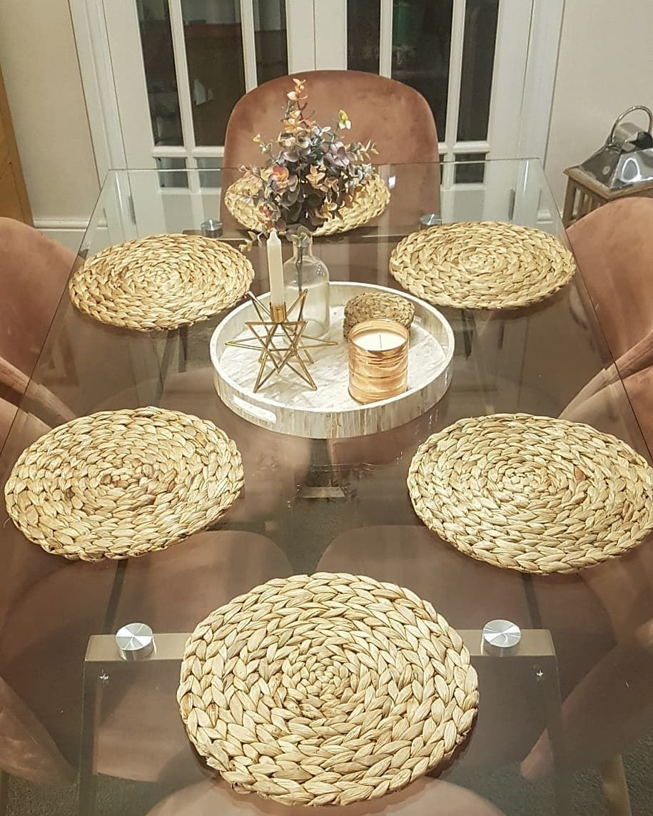Had To Purchase New Soft Placemats For The Glass Table These Water Hyacinth Table Mats Are Too Pretty Thus A Pho Table Mats Glass Table Glass Dining Table