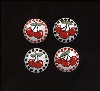 RED CHERRIES - Hand Painted WOODEN MAGNETS - Set of 4