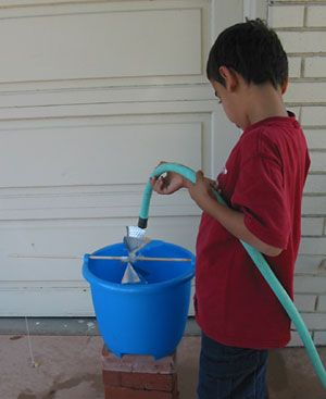 Energy and Power  Science Project using garden  hose to turn waterwheel