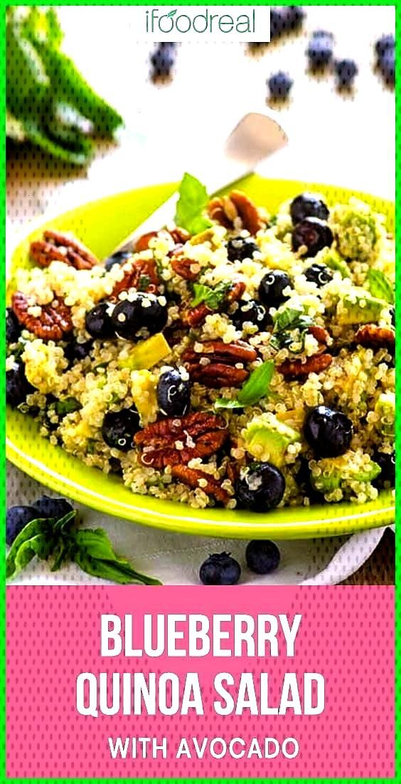 Blueberry Quinoa Salad  iFOODreal  Healthy Family Recipes Blueberry Quinoa Salad Recipe with avocad