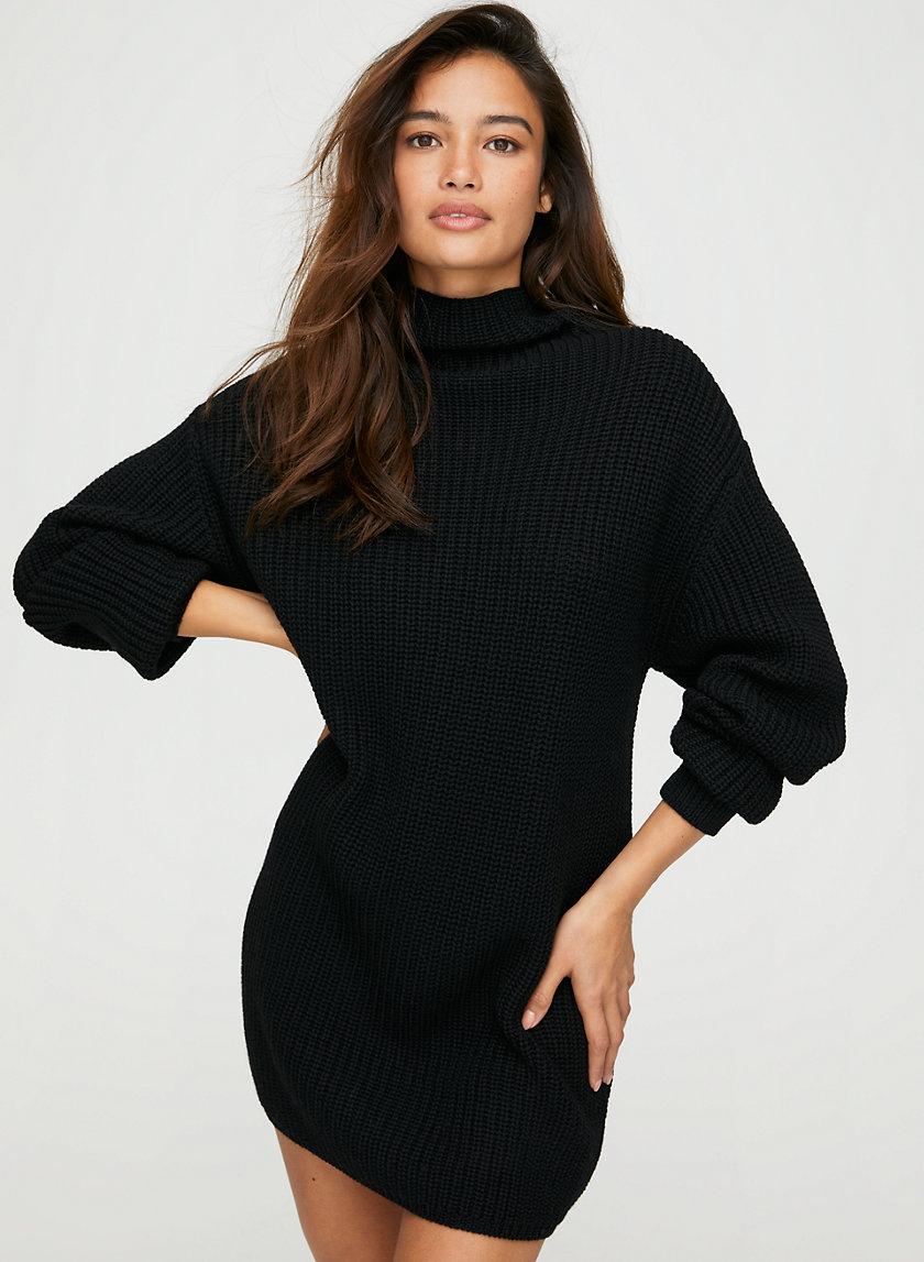 Black Fine Knit Jumper Dress Fine Knit Sweater Knitted Jumper Dress Sweater Dress [ 1180 x 740 Pixel ]
