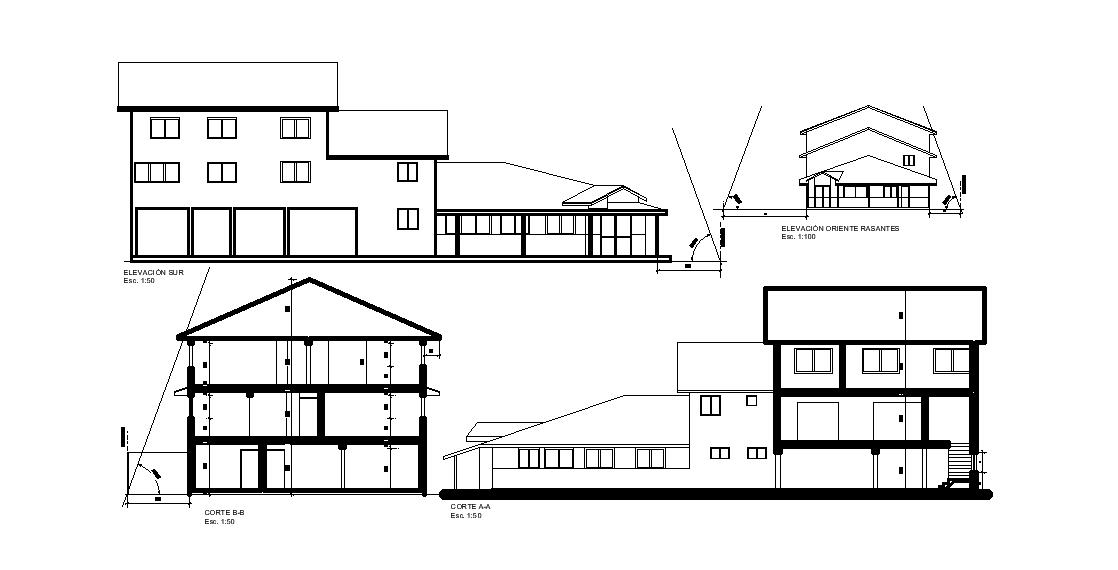 AutoCAD House Building Section Elevation Design DWG File