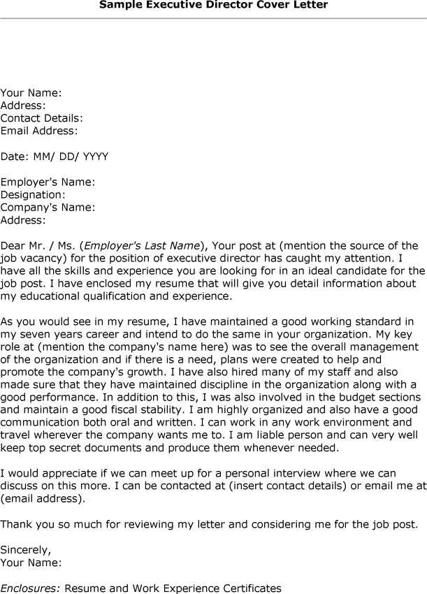 Cover Letter Template Executive Director Cover Letter