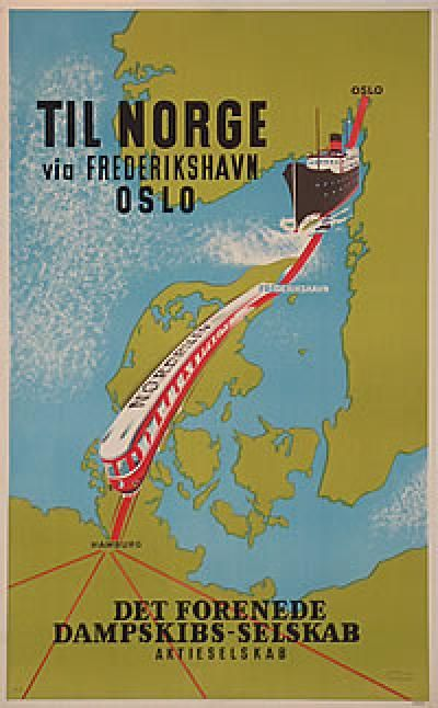 Poster: DFDS - Til Norge via Fredrikshavn - Oslo Artist: M. A. Size: 39 1/2 x 24 1/2    Publisher: DFDS    Printed by: Bording Offsettryk  1950s