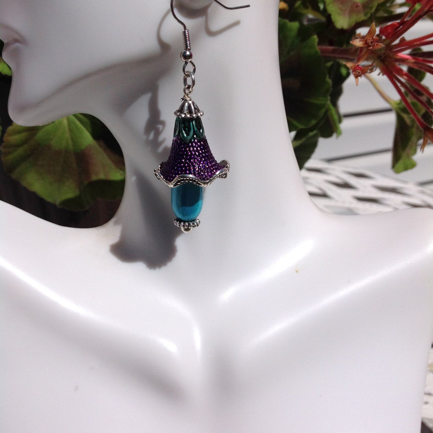 BOHO Handpainted and SEAGLASS Earrings by OhayoMtnDesigns on Etsy