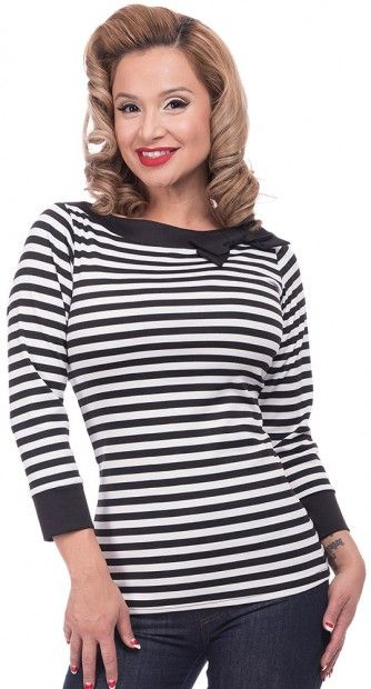 922f7a9837cb6b This slinky Striped Boatneck Top in White is super sweet. It has a black  and white stripe with three quarter length sleeve, a wide boatneck and a  little ...