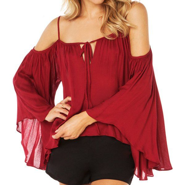 Solid Color Trendy Style Spaghetti Strap Long Sleeve Women's Blouse