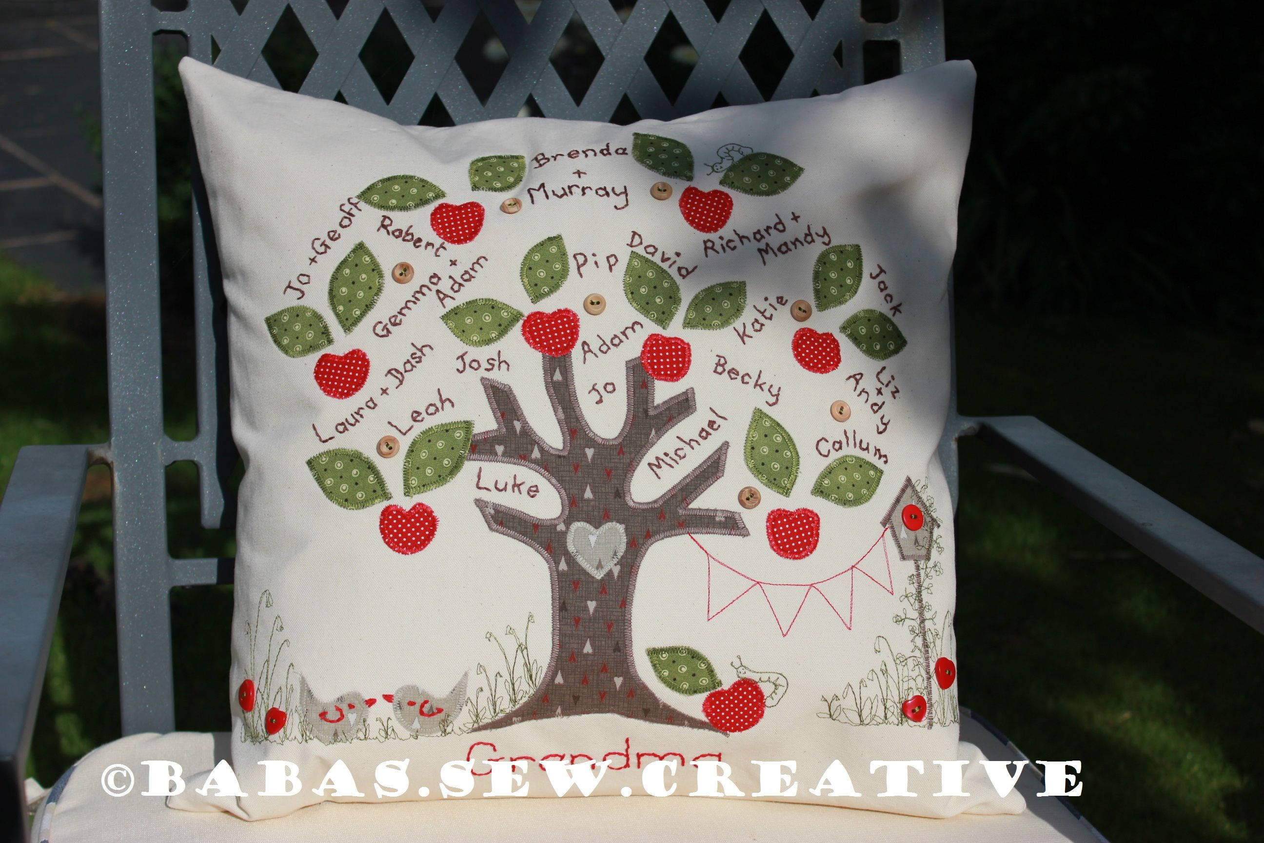 One of my family tree cushion commissions. Designed and produced at www.facebook.com/babas.sew.creative