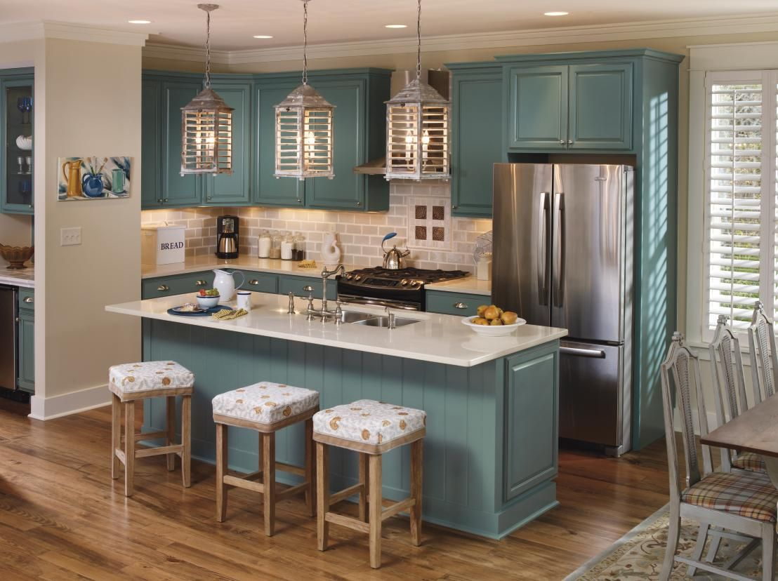 Schrock S Oasis Color From Its Inspired Collection Provides The Perfect Splash Of Color To Make Y Modern Kitchen Design Kitchen Design Kitchen Cabinet Colors