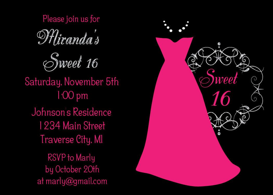 Dress Sweet 16 Birthday Party Invitations