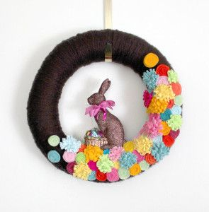Chocolate bunny Easter wreath by The Bakers Daughter on Etsy