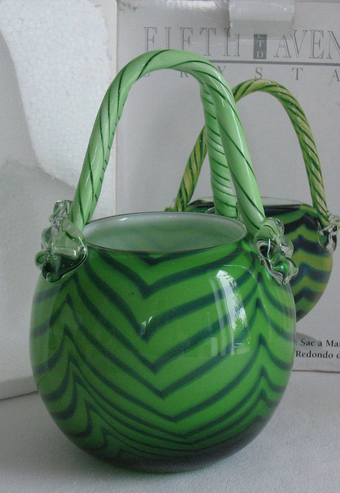 Art Glass Purse Vase Basket Murano Style Hand Blown Pink
