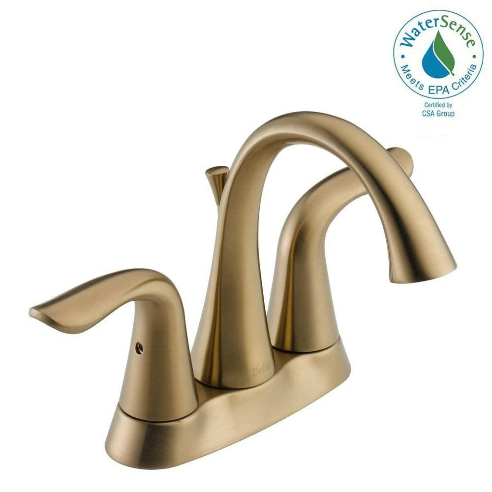 Delta Lahara 4 In Centerset 2 Handle Bathroom Faucet With Metal Drain Embly