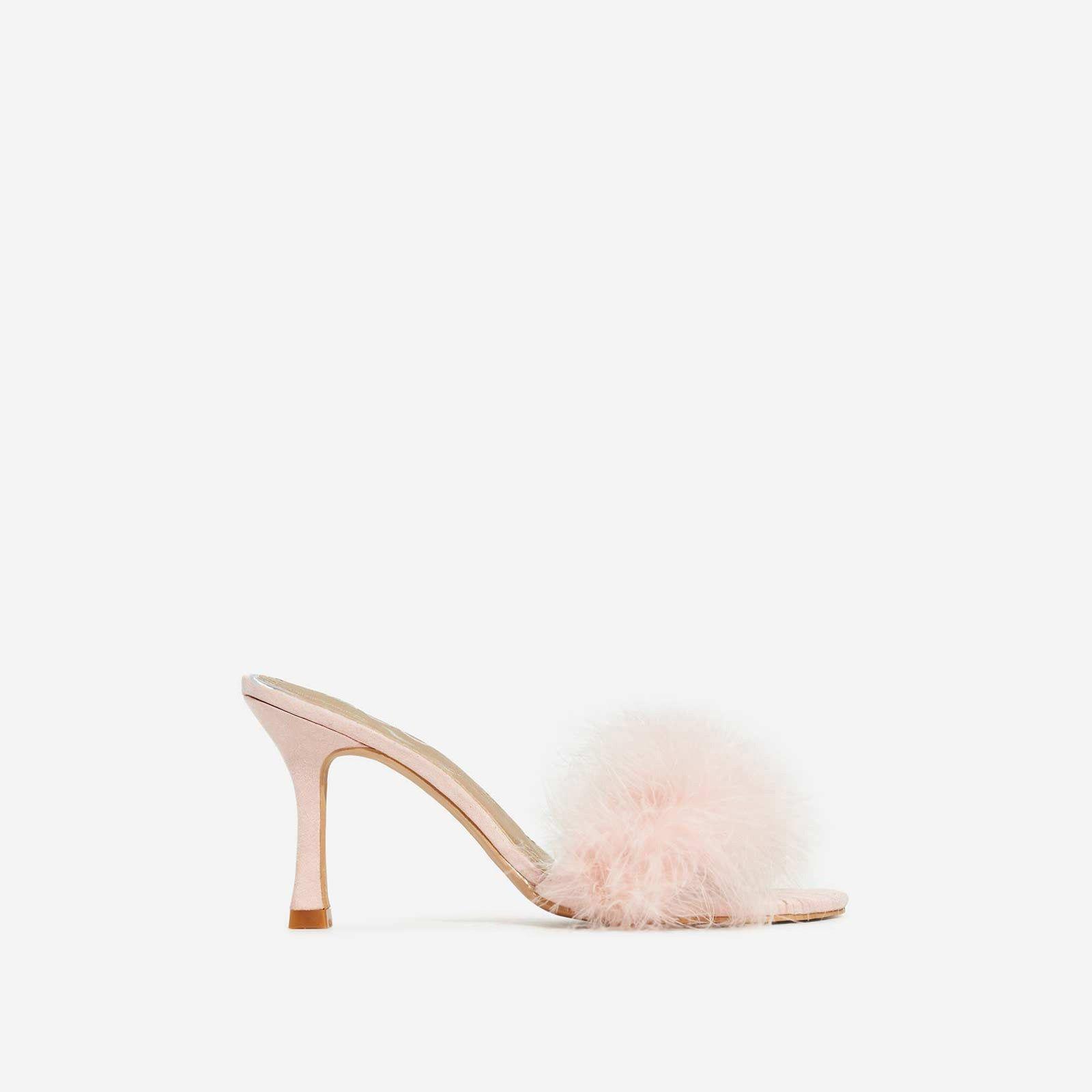 Fairydust Faux Feather Peep Toe Kitten Heel Mule In Pink Faux Suede Heeled Mules Kitten Heels Fluffy Shoes