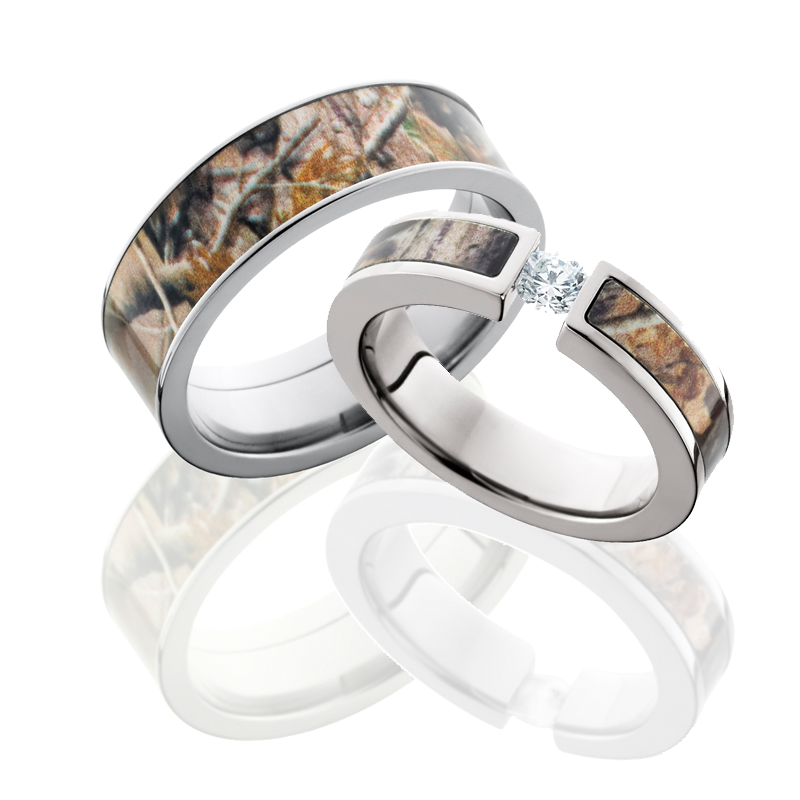 Hers Matching Camo Ring Set Shown In Anium With Realtree Ap