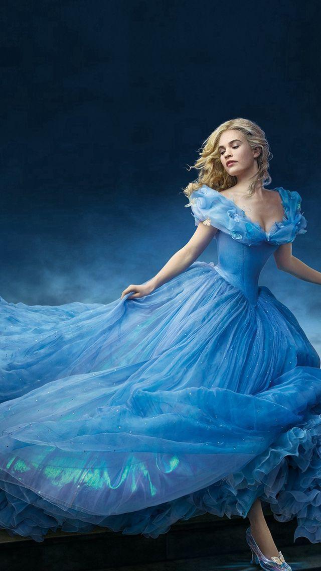 Cinderella Princess Dress Blue Art iPhone 5s wallpaper