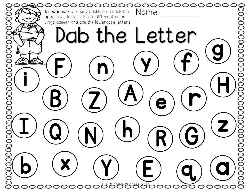 worksheet Alphabet Recognition Worksheets a dab of learning bingo dabber alphabet number recognition activities