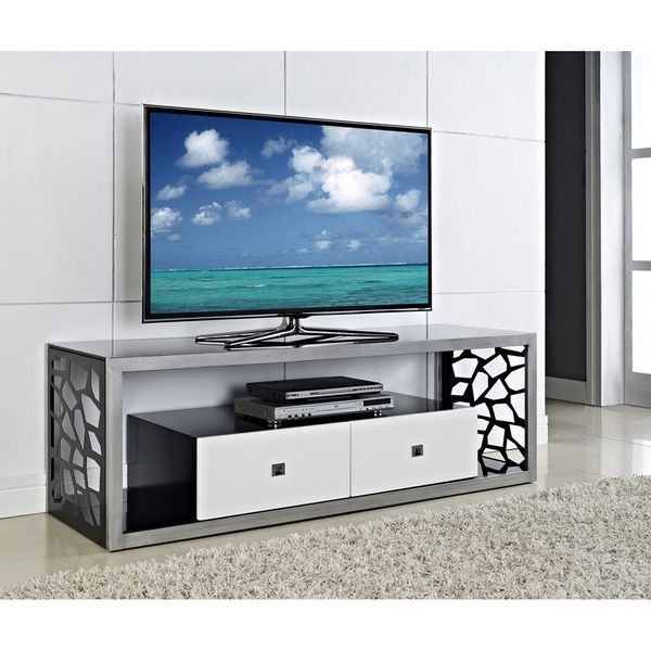 Black Glass Modern Mosaic 60 inch TV Stand Overstock Shopping
