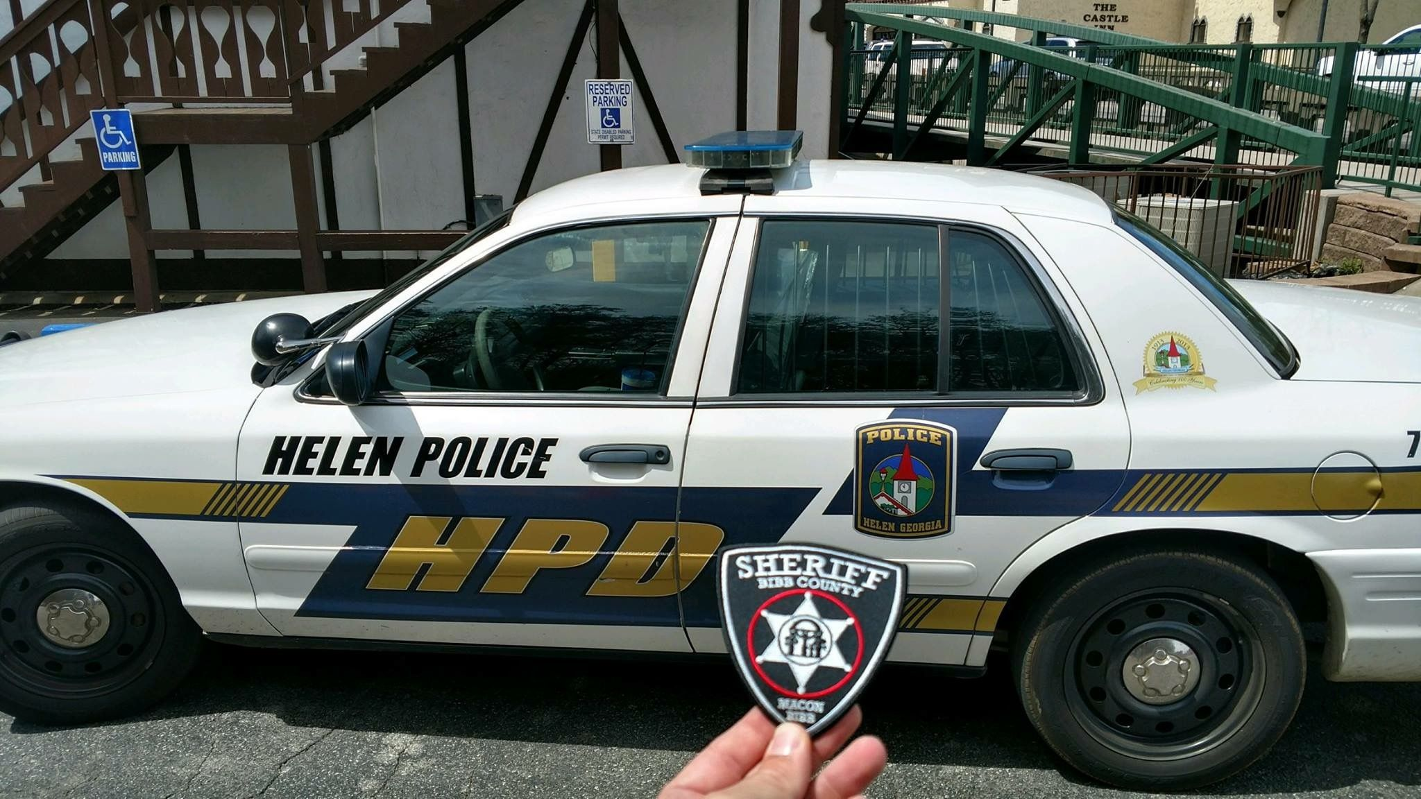 Our Bibb County Sheriff S Office Patch Made It To The Tiny Town Of Helen Built Along The Chattahoochee River T Chattahoochee River Bibb County Chattahoochee