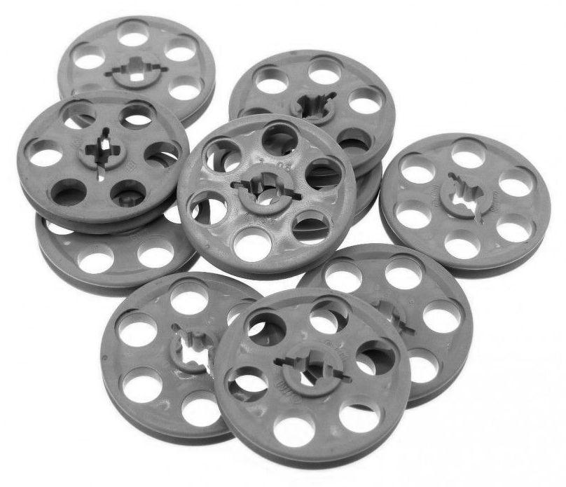 LEGO Technic 10 pcs DARK BLUISH GREY WEDGE BELT PULLEY WHEEL rubber band piece