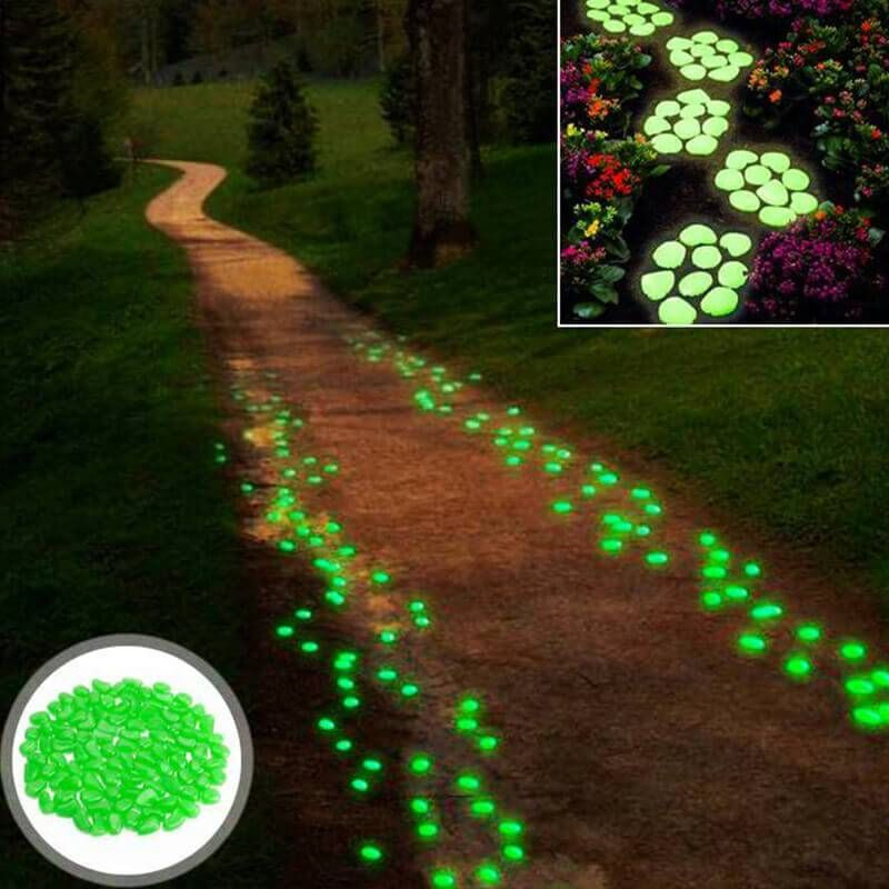 Glow in the dark garden pebbles products garden garden paths backyard for Glow in the dark garden pebbles