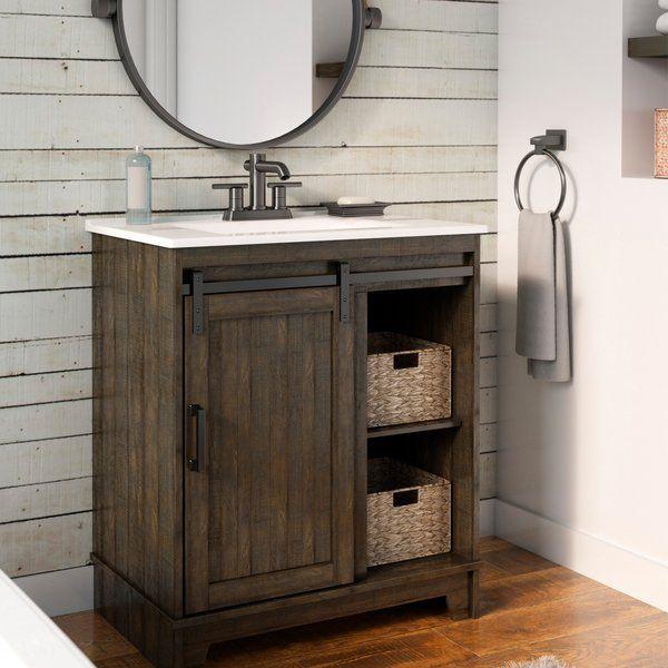 You Ll Love The Schlesinger Sliding Barn Door 30 Single Bathroom Vanity Set At Wayfair Ca Single Bathroom Vanity Rustic Powder Room Farmhouse Bathroom Vanity