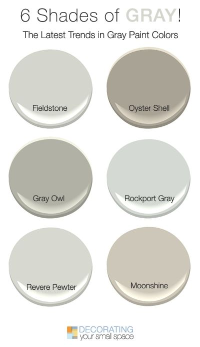 6 Shades Of Gray Trendy Favorites Gray Paint Colors