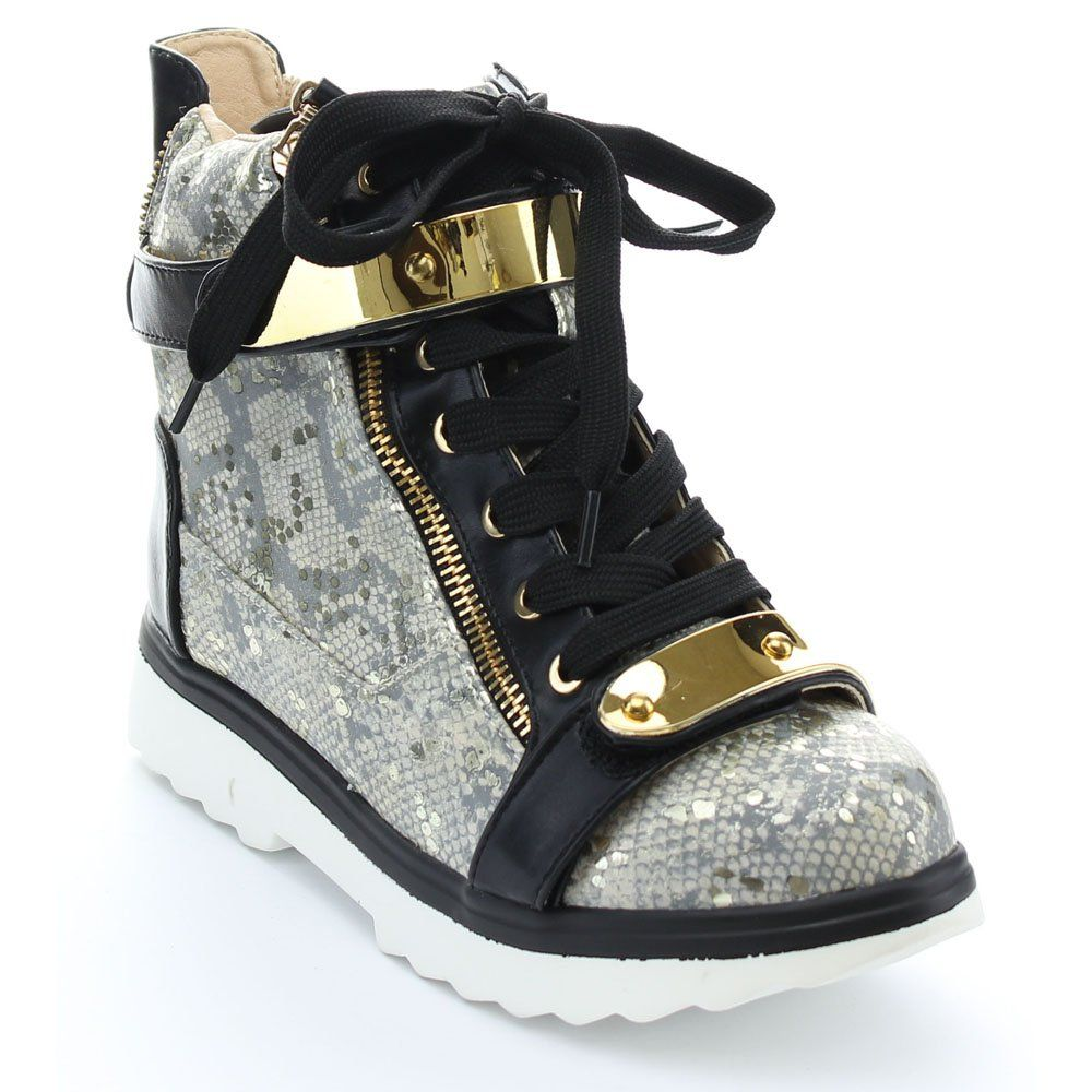 Women's Lace Up Gold Straps Chic Wedge High Top Sneaker  #hiphop, #womens, #fashion, #sneaker, #heels, #urban, #trends, #shoes, #streetwear, #LosAngeles, #NewYork