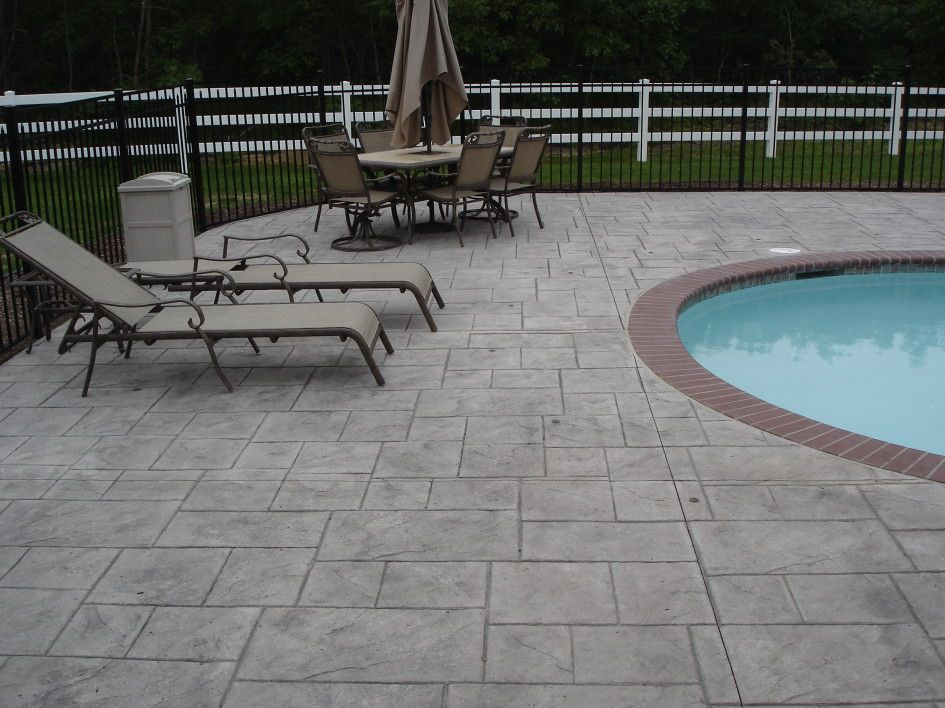 stylish stamped concrete pool decks with swimming pool red brick