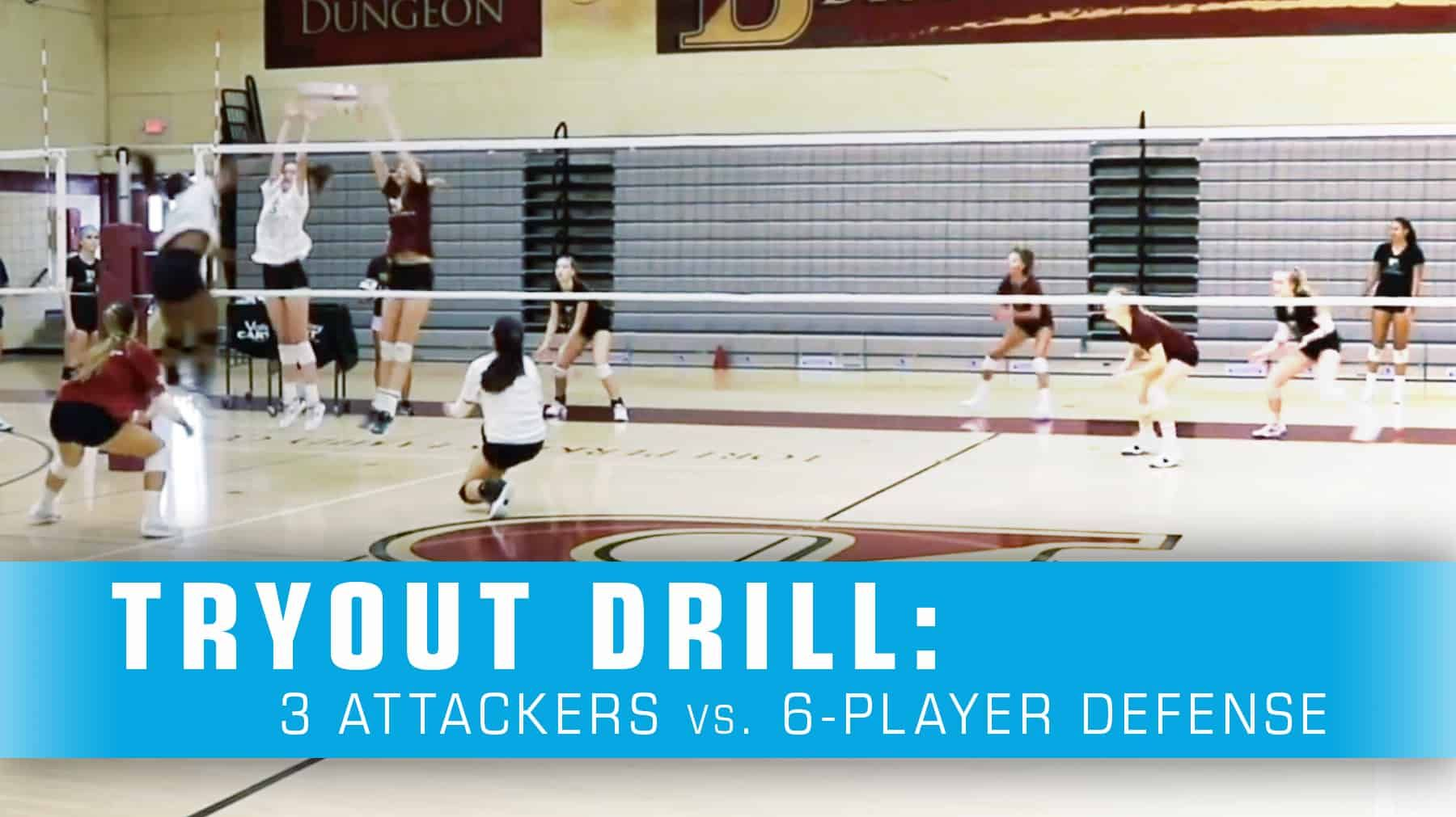 Tryout Drill 3 Attackers Vs 6 Player Defense The Art Of Coaching Volleyball Coaching Volleyball Volleyball Skills Volleyball Tryouts