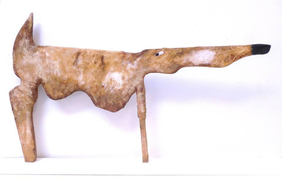 Dog 2014  Plaster on wood painted 68cmx38cmx8cm