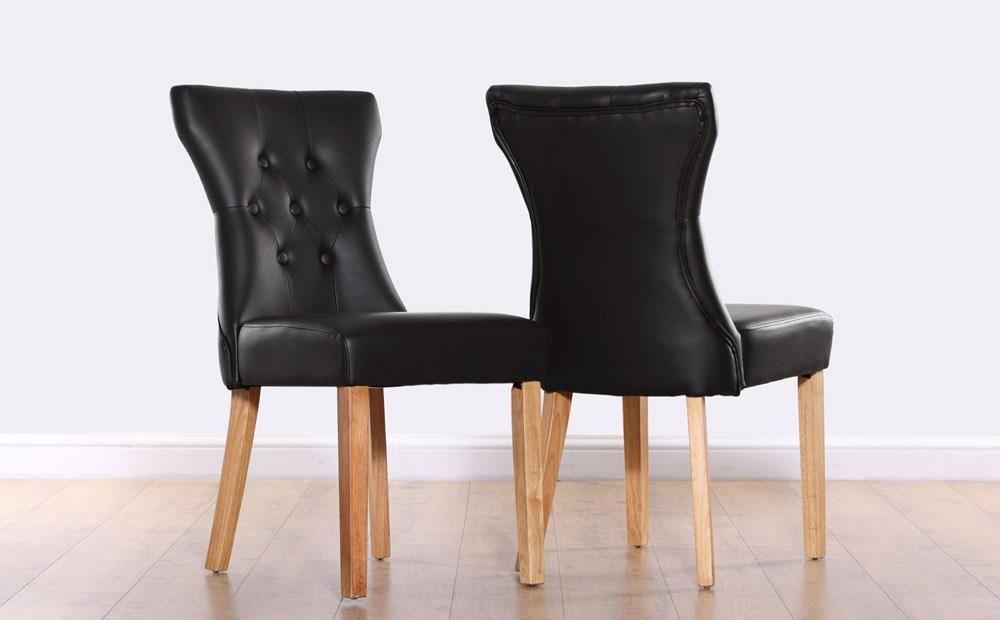 Bewley Black Leather Button Back Dining Chair (Oak Leg ...