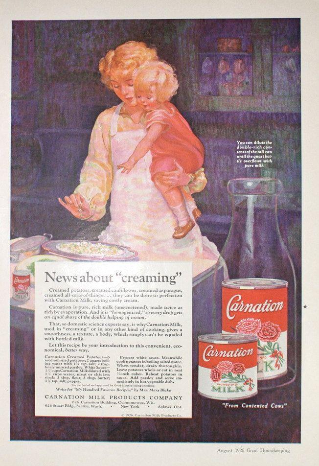 Carnation Milk Vintage 1920s Good Housekeeping. | Vintage ...
