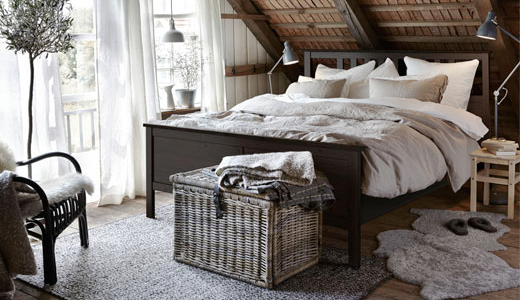 IKEA ,Bedroom_Full-Queen-and-King-beds_HEMNES_Bed-frame-black-brown ...