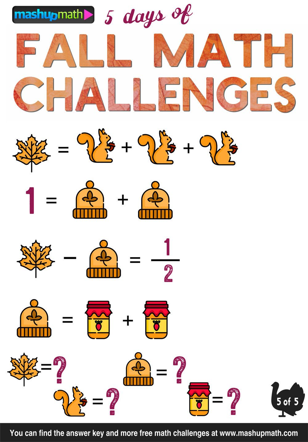 Are Your Kids Ready For 5 Days Of Fall Math Challenges Mashup Math Math Challenge Fall Math Math [ 1437 x 1000 Pixel ]