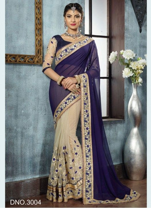 Blue and Cream Net With Georgette Designer Saree