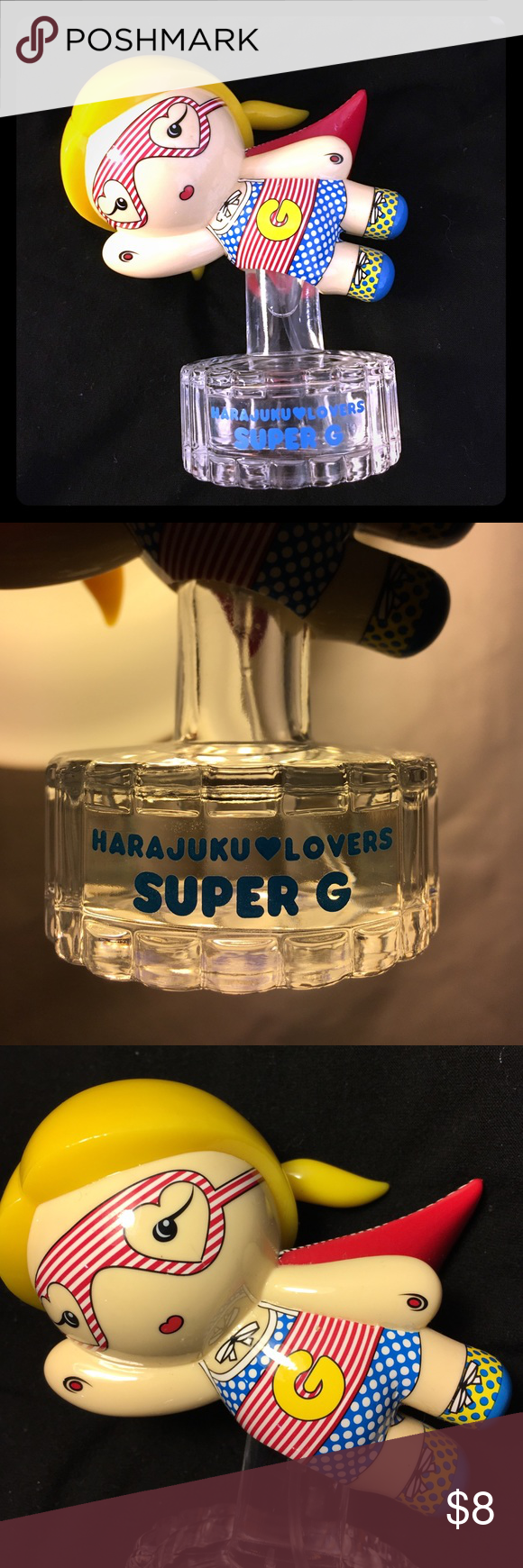 Gwen Stefani Harajuku Lovers Super G perfume ✨ This is a LIMITED EDITION Perfume!! Don't have the box but it was rarely used. Little scruff near the G of the bottle but not noticeable. Adorable to have sitting anywhere in your room ✨✨✨ Harajuku Lovers Other