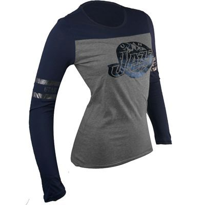 23fe50298ca Utah Jazz NBA Women's Raglan Stripes Long Sleeve T-Shirt (Heathered  Gray/Navy)